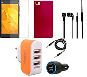 NIROSHA Tempered Glass Screen Guard Cover Case Car Charger Headphone Charger for Xiaomi Mi3 - Combo