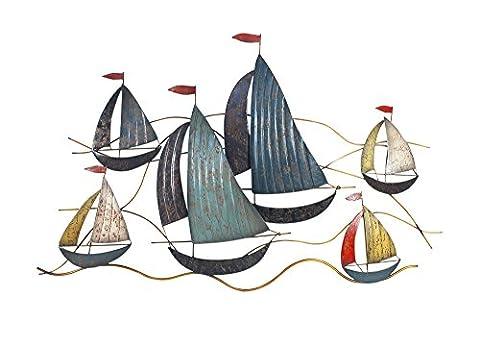 Déco murale métal : Régate 6 bateaux, Mod 2, L 106 cm