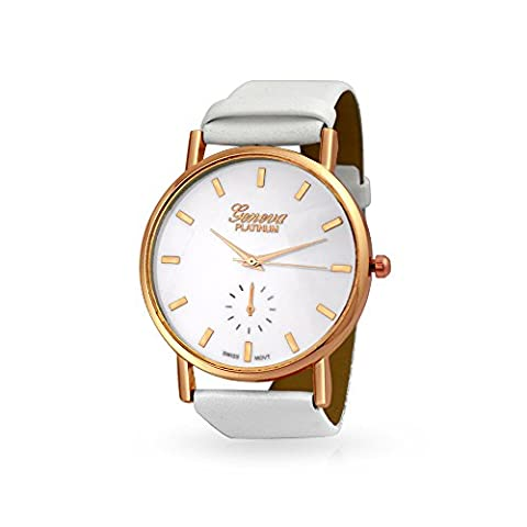 Bling Jewelry Cuir blanc Inoxydable plaqué or rose Retour copain Watch
