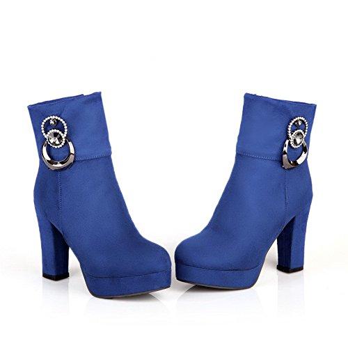 VogueZone009 Damen Hoher Absatz Rein Rund Zehe Mattglasbirne Reißverschluss Stiefel, Blau, 43