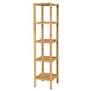 SONGMICS 5-stöckiges Badezimmerregal aus Bambus, Standregal, Küchenregal, 33 x 33 x 146 cm, schmal für enge Räume, Wohnzimmer, Schlafzimmer BCB55Y