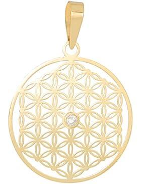 ERCE Blume des Lebens Anhänger mit Diamant, 14 Karat Gold 585, Länge 2,8 cm, im Geschenketui