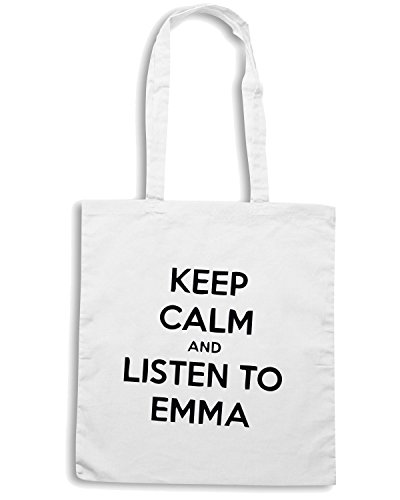 T-Shirtshock - Borsa Shopping TDM00145 keep calm and listen to emma Bianco