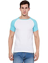Stylish And Breathable White And Blue Reglan Sleeves Round Neck T-Shirt For Men's By Altum