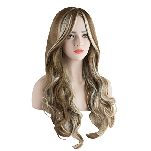 (Damen Perücke 3 Töne Blond Gemischte Gewellt Glockig Lange Haar für Kostüm Karneval Halloween Cosplay Party von Discoball)