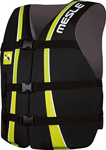 MESLE Universal-Schwimmweste Sportsman Adult, Universalgröße 40-70+ kg, 50-N Auftriebsweste Schwimmhilfe Prallschutz, schwarz-Lime, für Erwachsene und Jugendliche