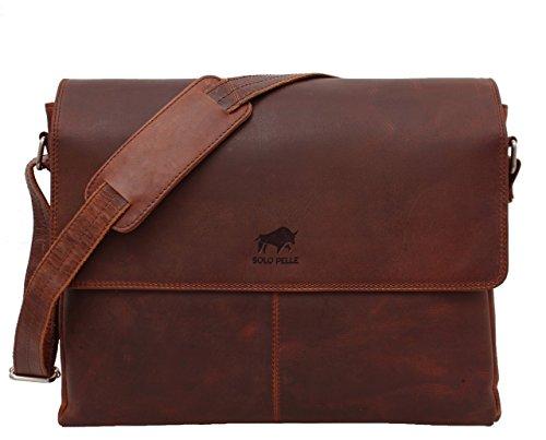 Solo Pelle Business Messenger Tasche/Umhängetasche College Tasche aus echtem Leder Model: Henry 15 Zoll in Braun (Aus Leder Solo-laptop-tasche)