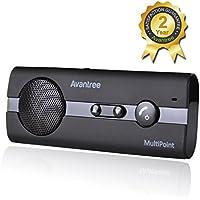 Avantree Kit de Altavoces Manos libres Coche Automóvil Bluetooth 4.0, Reducción de Eco y Ruido de Fondo para la Visera GPS y A2DP, Música, Universal, Conectar Tos Teléfonos,  Negro