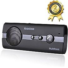 Avantree Kit Vivavoce Bluetooth per Auto 4.0 Multipunto con Supporto per Aletta Parasole e Funzionalità GPS e Musica, Viva voce per iPhone, Samsung, Smartphones - 10BP