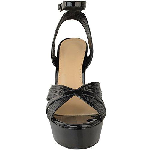 Fashion Thirsty Sandales Compensées - Talons Hauts - Sexy/Fête - Femme - Rose/Doré/Noir Verni noir/talon libre/bal