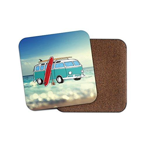 Camper Van Surf Surfer Kork Getränke Untersetzer für Tee & Kaffee # 4074, holz, 4 Coaster