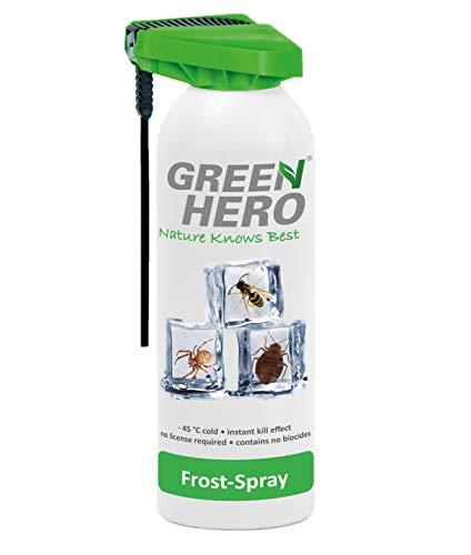 Green Hero Frost-Spray, 500 ml, Insektenspray ohne Insektizide, Gegen alle Schädlinge, Wespen, Bettwanzen, Milben, Silberfischen, Vorratsschädlinge