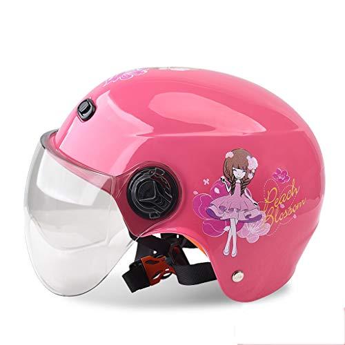 JHERT Casco Moto per Bambini Four Seasons Universal Casco Sportivo per Bambini Summer Kids Outdoor Sun Protection Half Helmet (Color : Pink Princess)