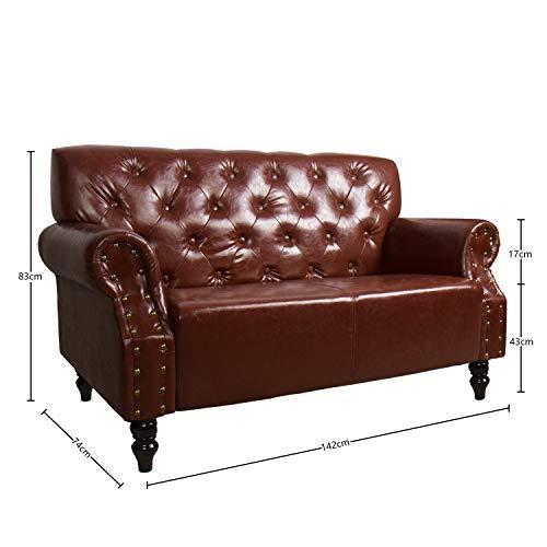 CCLIFE Chesterfield Sessel Sofa Braun 2 Sitzer Antik Wohnzimmer Couch Kunstleder Vintage Retro