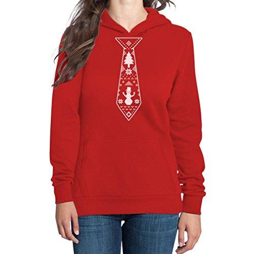 Hässliche Weihnachtskrawatte Damen Kapuzenpullover Hoodie - Weihnachtsmode / Weihnachten Rot