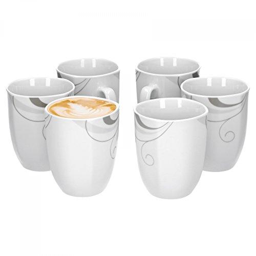 Van Well Portofino 6er Set Kaffeebecher, 330 ml, H 10,3 cm, Kaffeetasse, Rankendekor, edles...