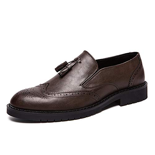 Apragaz Herren Freizeit Oxford Brogue Carving Schuhe Leder Casual Loafers Quaste Anti-Rutsch-Flat Pointed Toe Schuhe (Color : Braun, Größe : 45 EU) - Pointed Cap Toe Flats