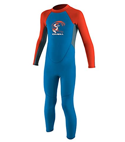 2017 O'Neill Toddler Reactor 2mm Back Zip Wetsuit BLUE / NEON RED 4868 Age / Size - 1 Years