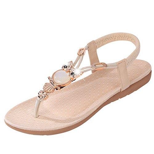 Ularma Damen Sandalen Zehentrenner Sommer indoor & outdoor Lässige Flache Schuhe Strass Eule Sandale Beige