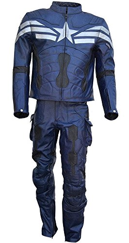 Classyak Uomo Captain in Vera Pelle Moto Tuta Blu Split Blue X-Large