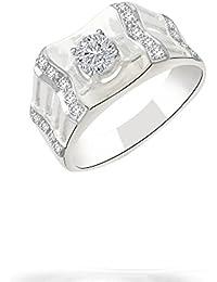 Silvernshine 0.74 Cts Round Cut Sim Diamond Wedding Engagement Ring In 14KT White Gold PL