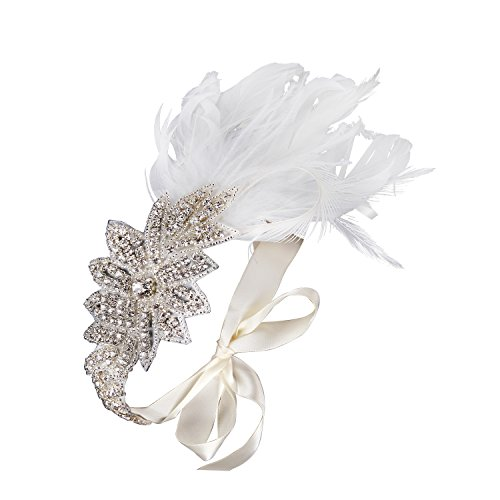 BABEYOND 1920s Flapper Beaded Headband Feather Headpiece Great Gatsby Headband 1920s Flapper Accessories with Crystal for Pageant Themed Party