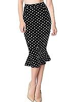 Miusol® Damen Sommer Kleid 1950er Retro Polka Dots und Hahnentritt Muster Schönes Party Fishtail Rock, Schwarz Gr.36-44
