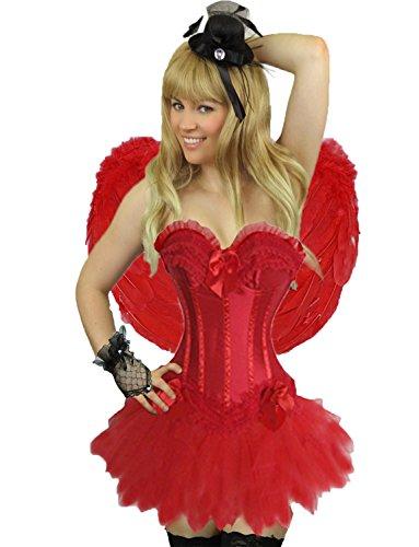Yummy Bee - Burlesque Korsett mit Tutu Spitzen Rock Kostüm Damen Größe 34 - 52 (Rot No Tutu, (Gras Korsett Mardi)