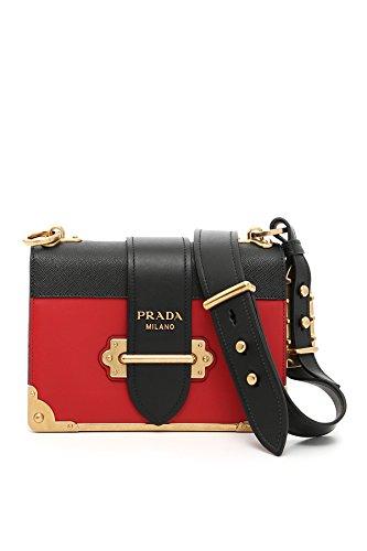 Prada Damen 1Bd0452bb0f0c9f Schwarz/Rot Leder Schultertasche (Rot Prada Leder)
