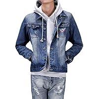 LETTER Hombres Vaquero Jacket Informal Gran Tamaño Mezclilla Azul Oscuro Mens. Denim Pockets Chaqueta Mezclilla Desgaste Rugoso Clásico Chic Liviano Los Chaqueta