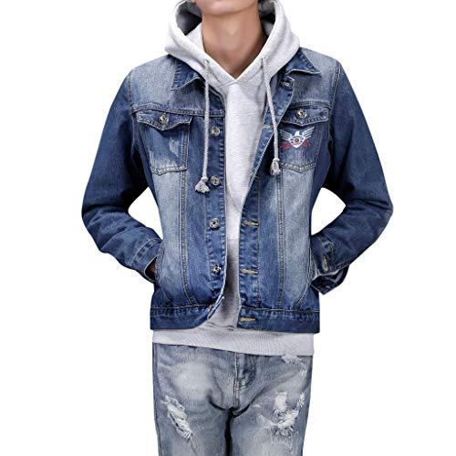 HULKY Vendita Uomo Denim Jacket Pullover Elegante Manica Lunga Slim Outwear Cappotto Plus Size con Tasche(Blu,XXXX-Large)