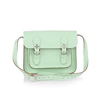 "Wooster Handmade Leather Satchel - Zip Closure & Inner Pockets (11"" Pastel Green)"