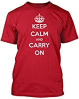 Keep Calm and Carry On Men's T-Shirt in Red Sizes Small to XX-Large Glare UK
