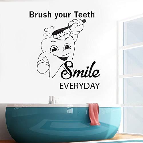 wukongsun Clinica Dentale Adesivo murale Dentista Sorriso Wall Art Sticker Applique Bagno Impermeabile Decorazione della casa Denti Denti Carta da Parati Nera 56X62 cm
