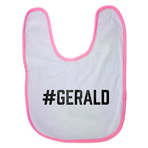 Pink baby bib with #GERALD
