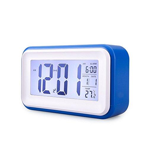 Reloj Despertador Digital de Gran Pantalla Silencioso VADIV CL-01 con Fecha Indicador de Temperatura Calendario y Luz de Noche Alarma con Sensor Táctil y de Luz Se Carga por USB o Batería AAA- Azul Oscuro