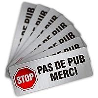 CeenoSign Autocollant Pas de Publicité Stop pub Boite aux Lettres Sticker Haute qualité Apparence en Inoxydable 8x3.3cm Lot de 12 pièces