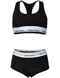 Fabio Farini Sportliches Set Damen Panty und BH mit Racerback in Schwarz, Grau oder Dunkelblau