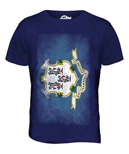 CandyMix Bundesstaat Connecticut Verblichen Flagge Herren T Shirt Navy Blau