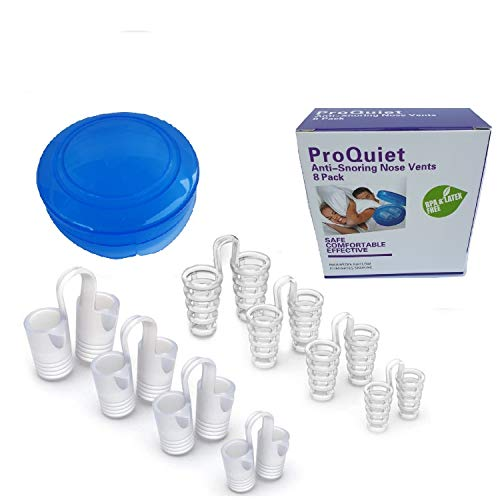 ProQuiet 8 Pairs of Anti Snore Devices For Men & Women Stop Snoring Nose Cones 4 Sizes(S, M, L, XL)