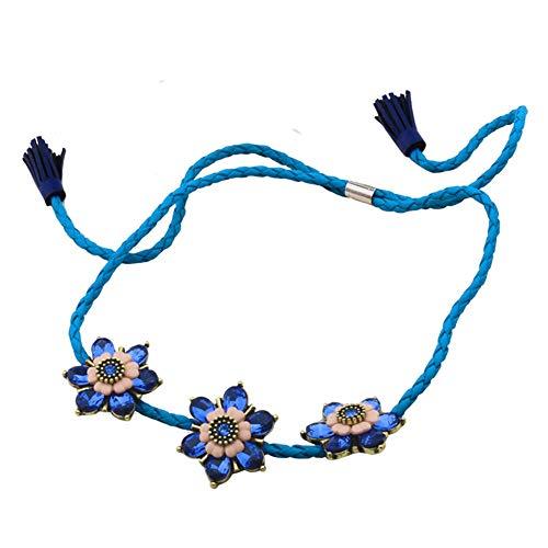 Z&HA Halsketten Für Frauen Süßes Leder Mode Kristall Blumen Kurze Halskette Schlüsselband Für Weiblichen Studenten Mädchen Schmuck