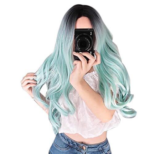 QHJ Perücke Für Damen,70CM Gradient Blonde Party Langes Lockiges Haar Mischfarben Synthetische Cosplay Salon Perücken Frauen (D)