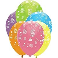 Age 5 Latex Balloons - Bright Mix 6pk