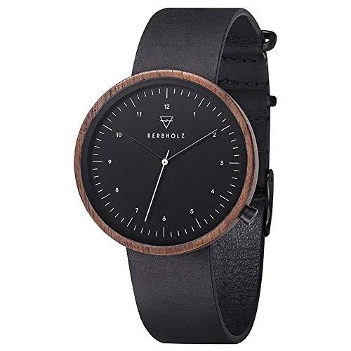 Kerbholz Herren Analog Quarz Uhr mit Leder Armband 4251240407531