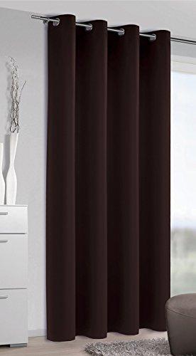 Albani moments blackout 254502 - tenda oscurante con occhielli, in stoffa morbida non trasparente, alta qualità e design alla moda, dimensioni: 245 x 140 cm (a x l), colore: marrone cioccolato