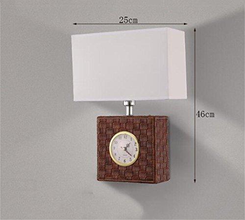 Energiesparende verstellbare Wandleuchte --- LED Leder Uhr minimalistische Wohnzimmer Schlafzimmer Nachttischlampe Wandlampe Gang Wandleuchte Wandleuchte Amerikanische (Nicht die Lichtquelle einschließen) ( Farbe : Braun ) (Acryl-leder-farbe Brown)