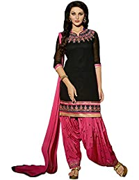 Radhey ArtsNew Designer Black And Pink Embroidered Georgette Dress Material With Matching Dupatta