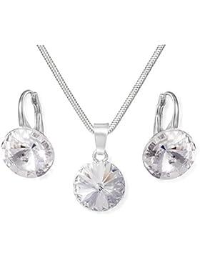 Silberschmuckset aus 925 Silber mit original Swarovski® Elements, klar, 12 mm, mit Schmucketui, ideal als Geschenk...