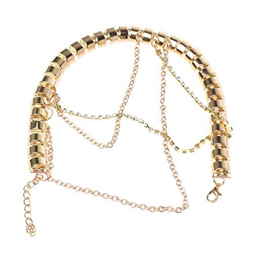 te Fußkettchen Gold Dekoration Frauen Strass Ornament Multi Layer Anhänger Fußkette Hochzeit Braut Accessoires ()