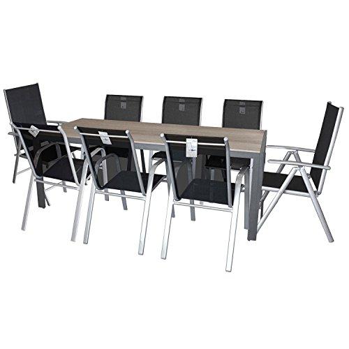 9tlg Gartengarnitur Sitzgruppe Gartenmöbel Set Gartentisch Polywood Tischplatte 205x90cm Gartenstuhl Stapelstuhl + Hochlehner Rückenlehne in 7 Positionen verstellbar mit Textilenbespannung